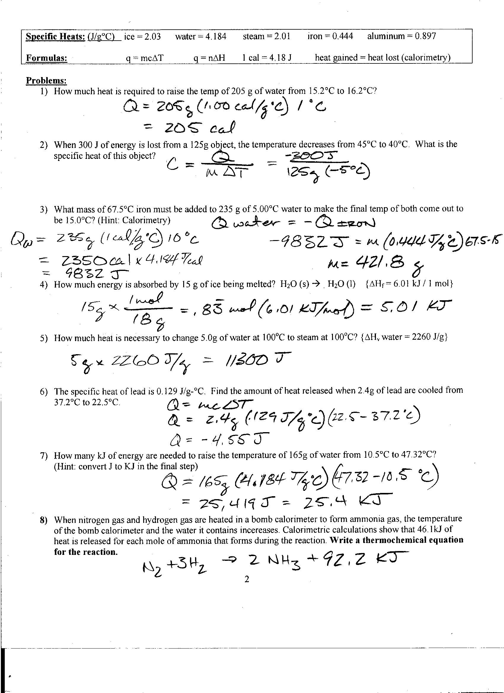 worksheet Specific Heat Calculations Worksheet Chemistry Answers foothill high school thermo review pg 2 2015 answers jpg