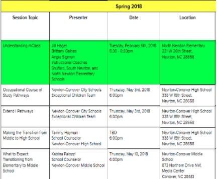 Parent U schedule and logistics