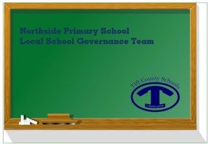 Chalkboard clip art with Tift County lazy T and title: Northside Primary Local School Governance Team