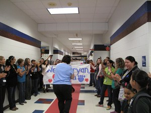 Rhonda Pena surprised by students and staff