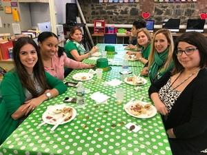 fellow teachers enjoy Irish food