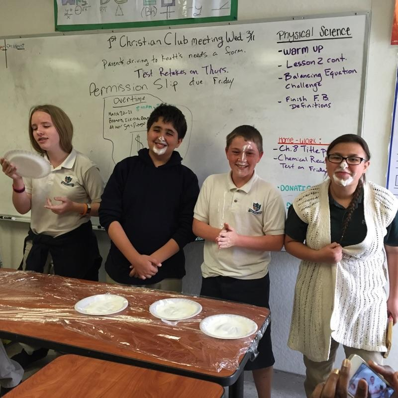 Celebrating Pi Day in the after school Christian club.