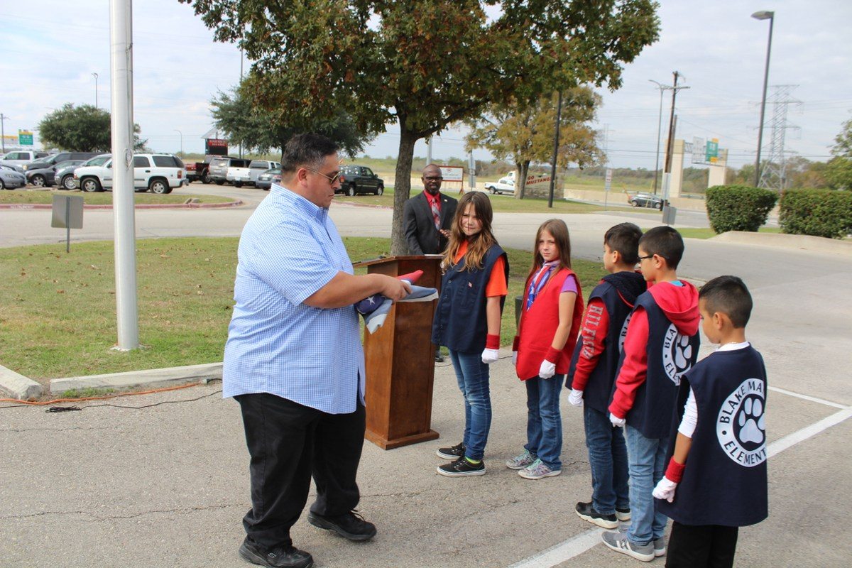 Flag ceremony at Manor ISD
