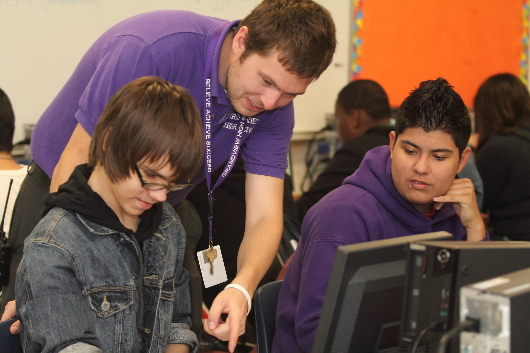 Grandview High School teacher with students