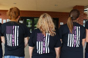 VMS teachers in t-shirts to support an ill staff member
