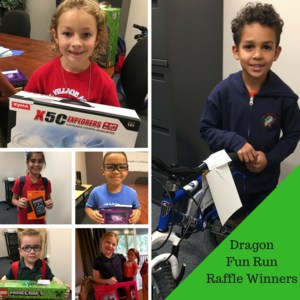 gva student winners of a recent dragon fun run raffle