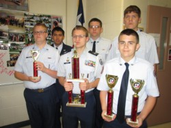 Cadets rocketry trophies austin mar 2014.jpg