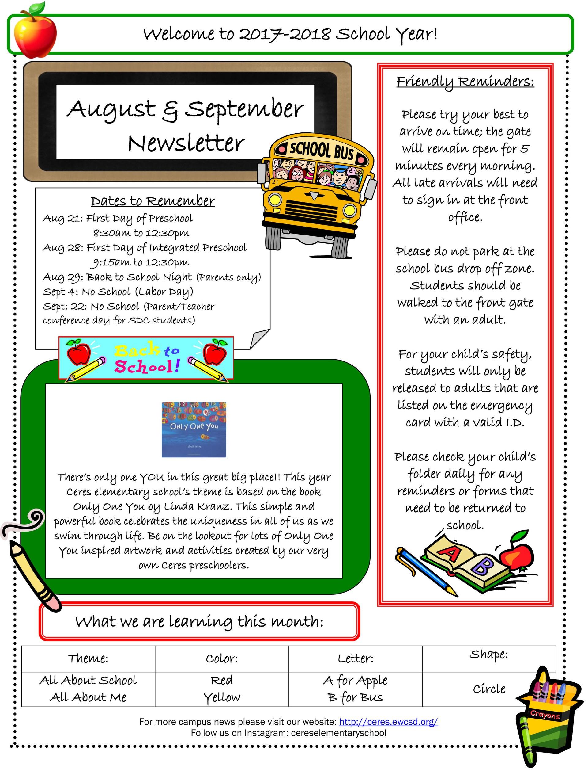 Preschool News August & September