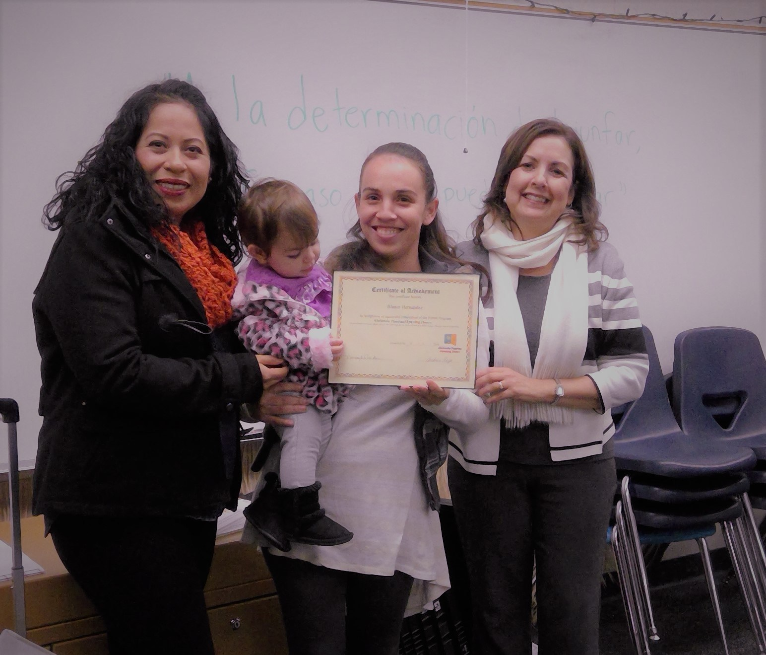 parent receiving completion award