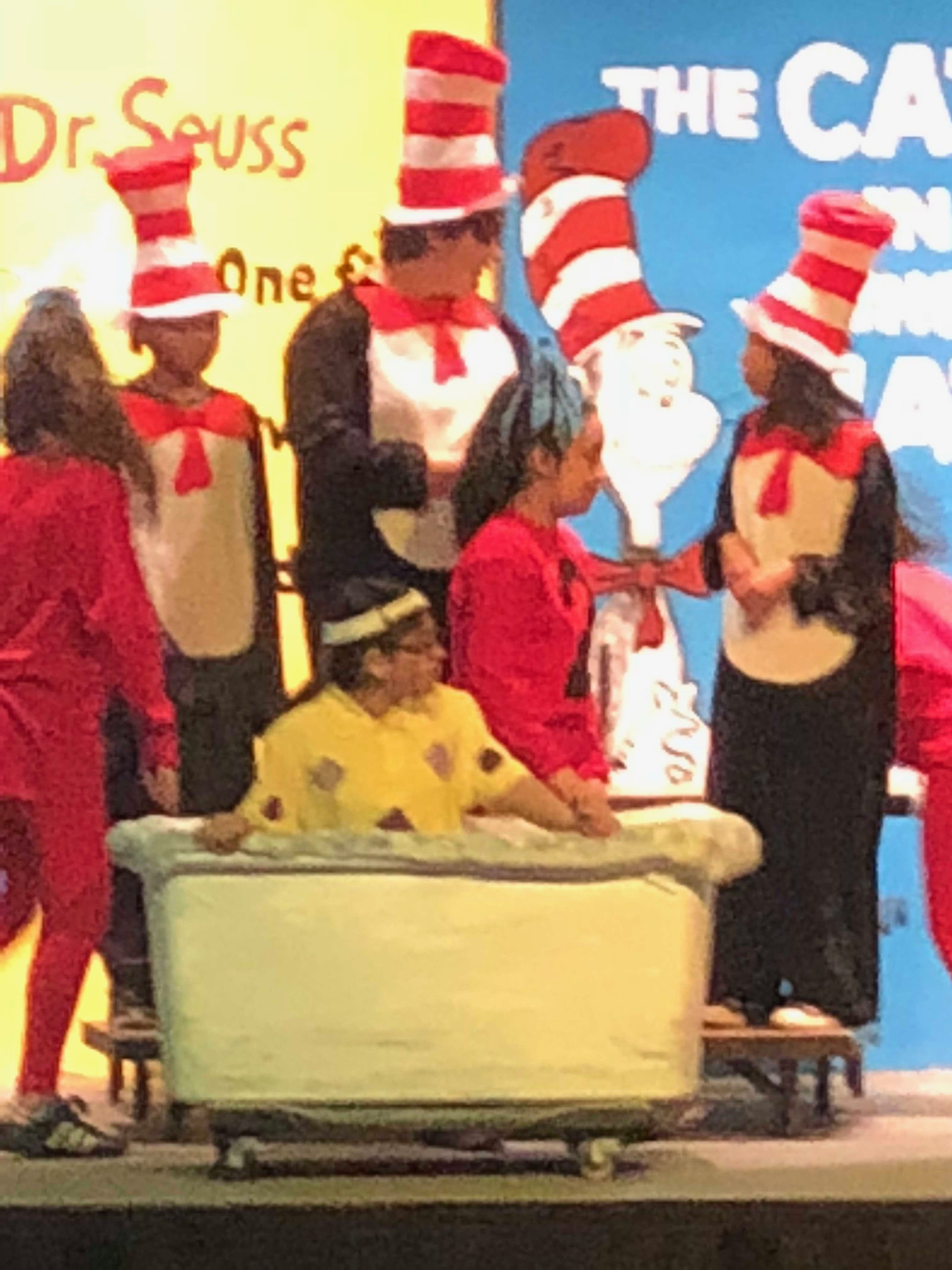 Students in a performance of Seussical the Musical.
