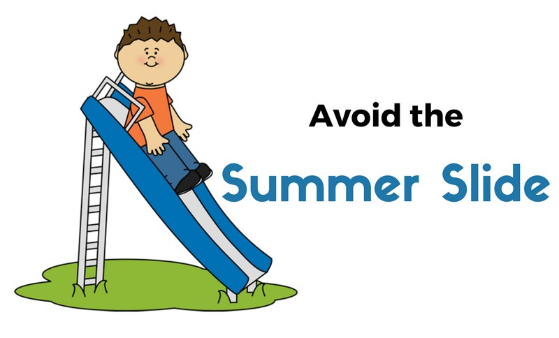 clipart of child sliding down a slide with the words Avoiding the Summer Slide