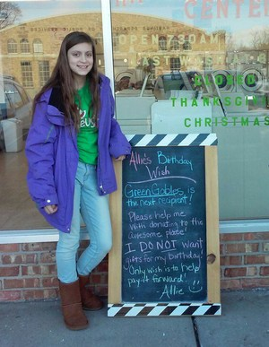 TKMS student Allison Wilbur pays it forward for her birthday - giving gifts rather than receiving.