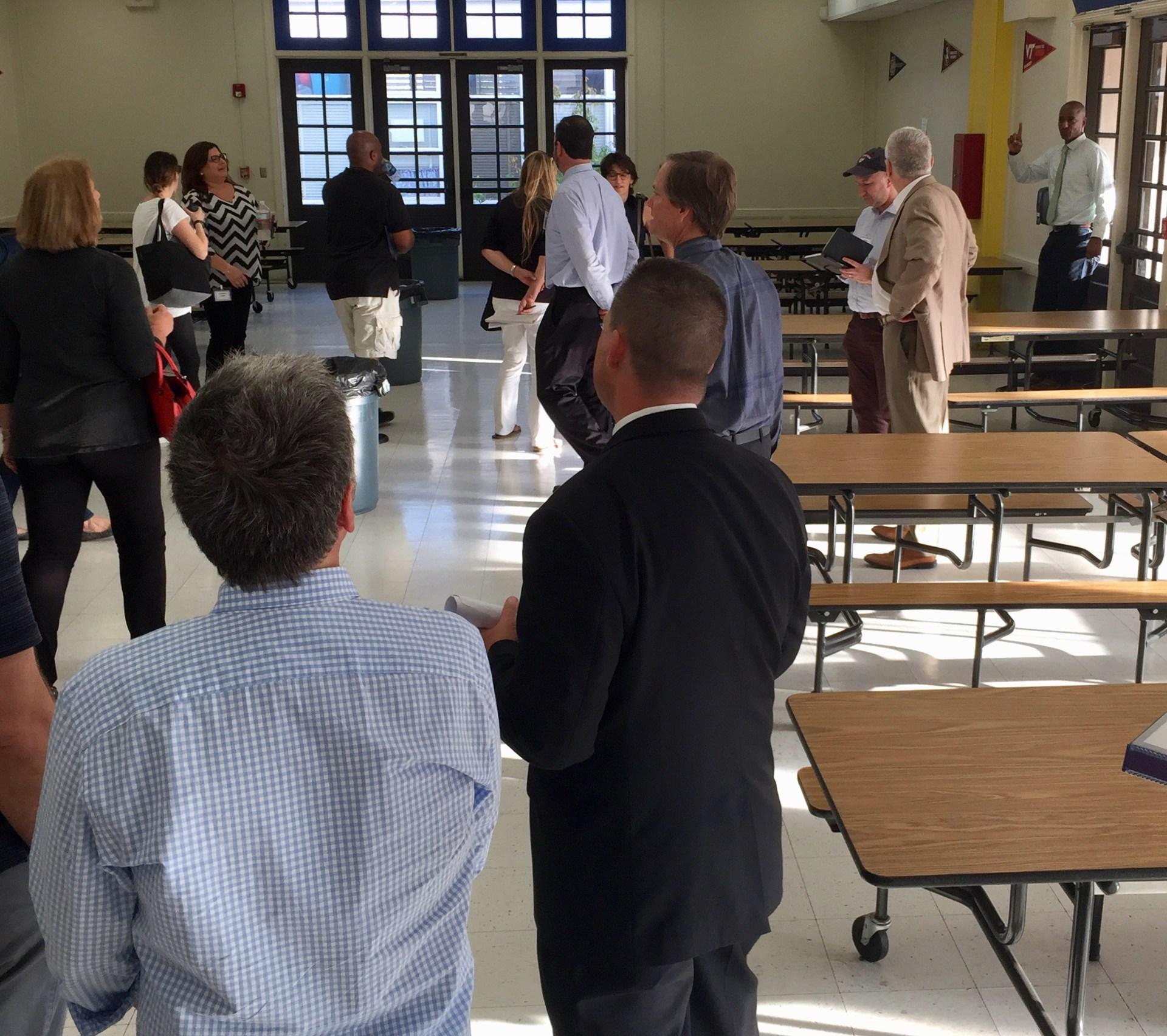 Hawthorne School Interim Principal Richard Waters leads a campus tour of the Future Focused Schools Team on 10/3/17