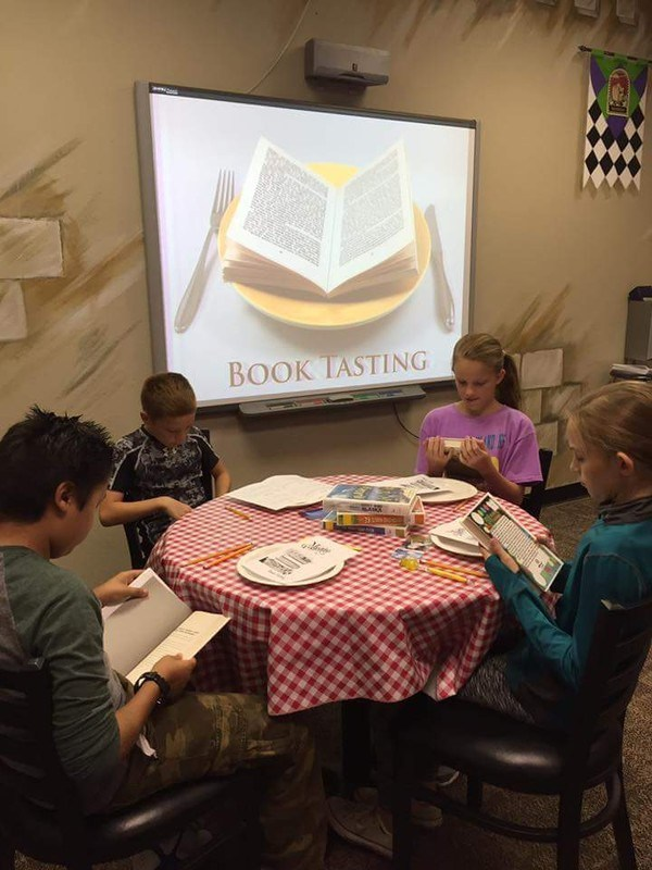 Students at book tasting