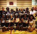 2017-2018 cheerleaders pose with awards with coaches