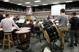 high school band performs in their practice space