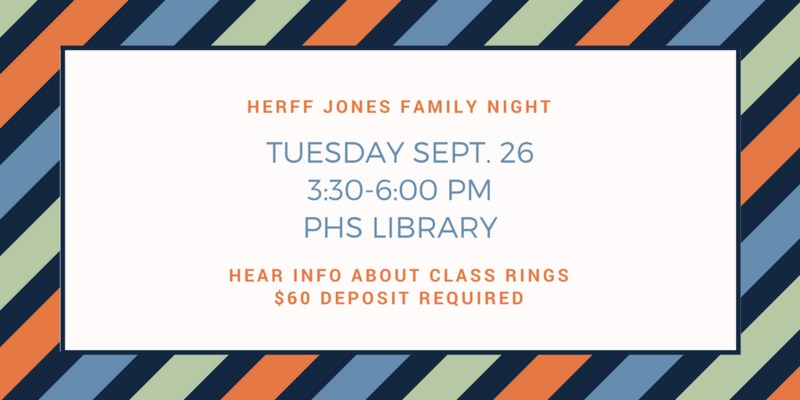 Herff Jones will host a family night to give information about class rings.