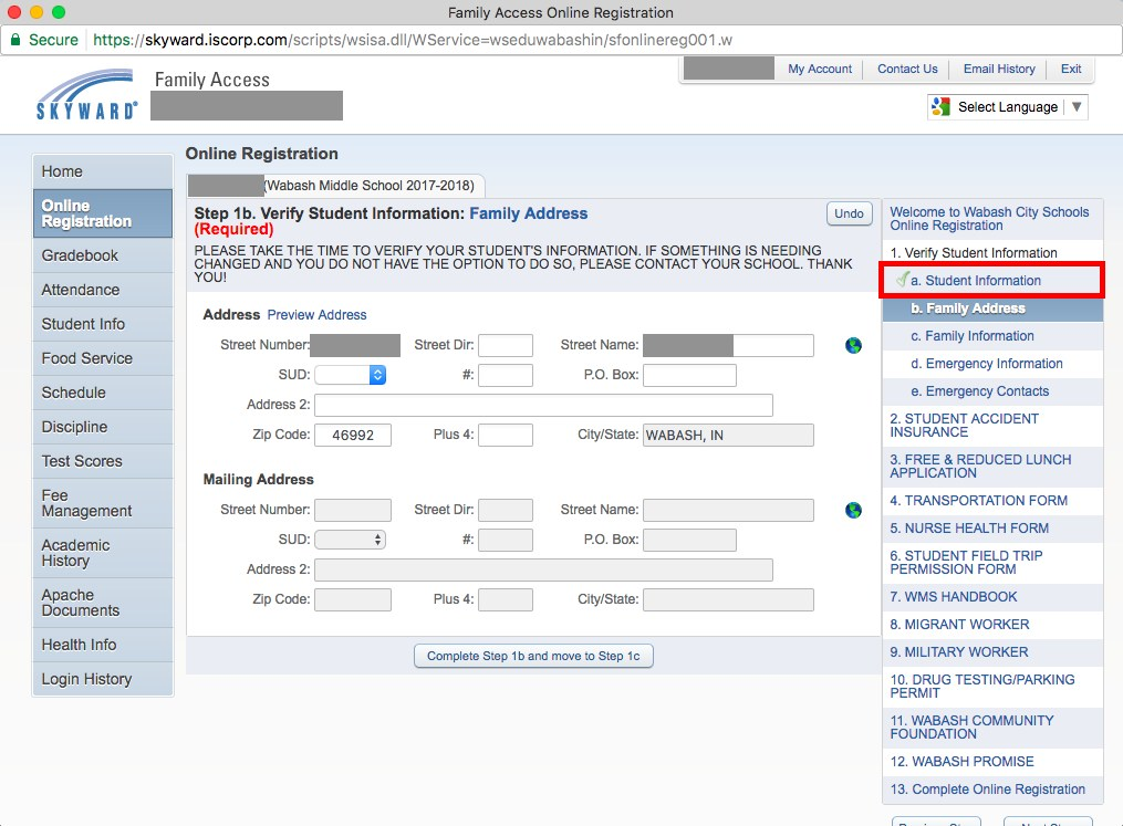 Online registration screenshot of completed step