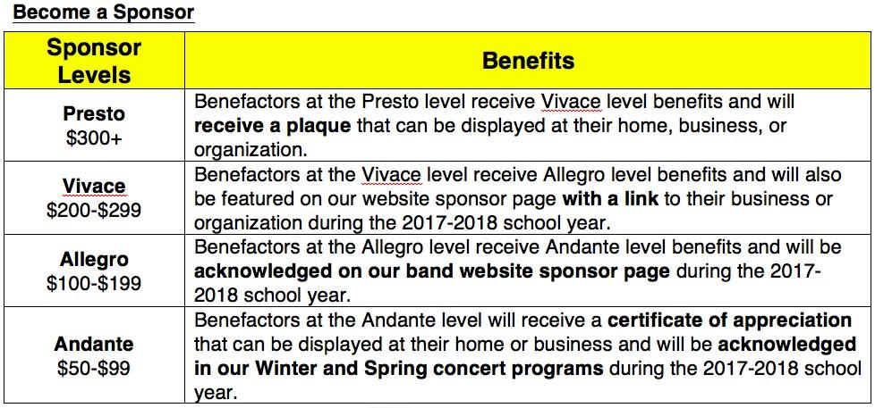 Band Sponsorship Information