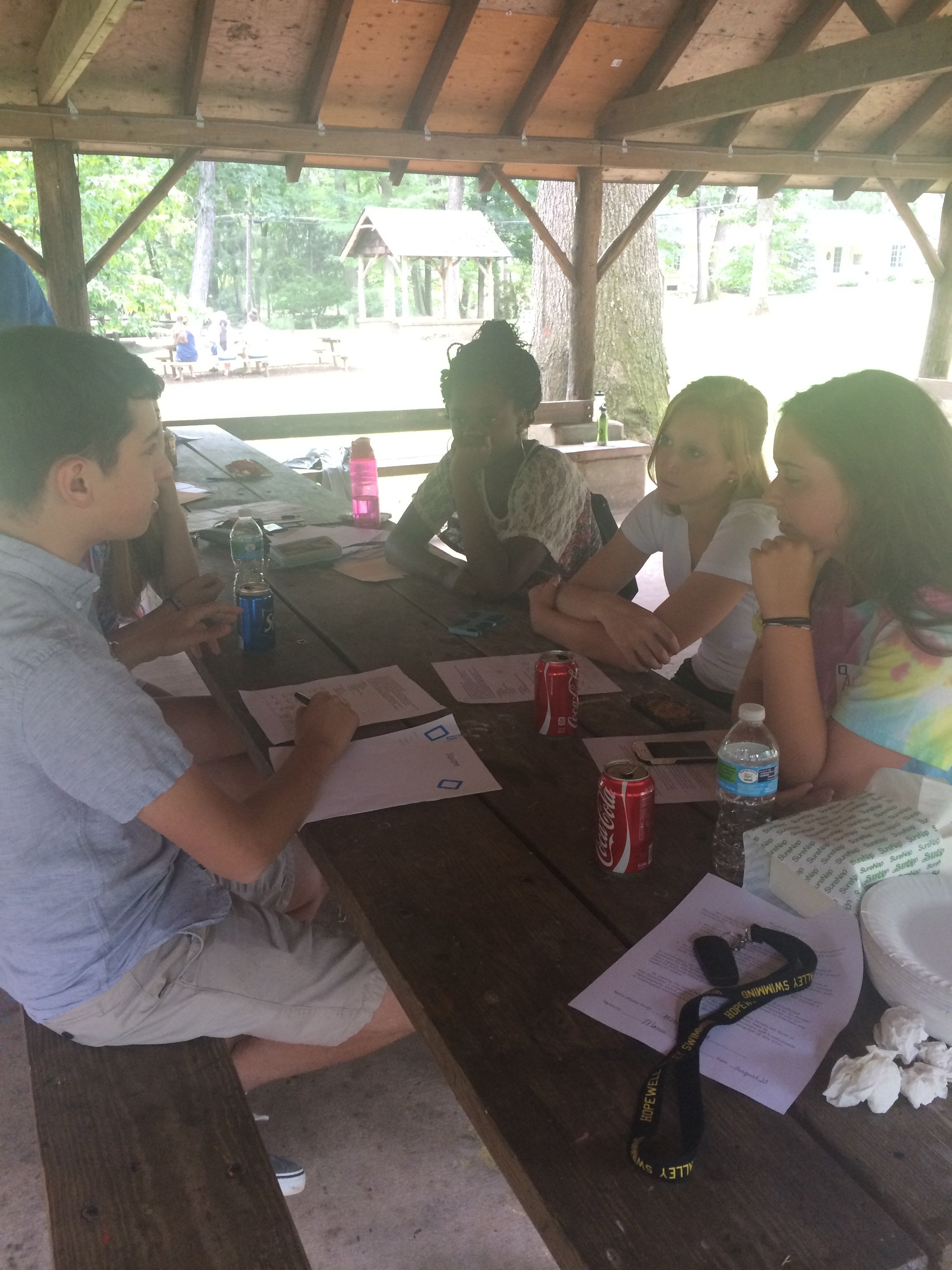 Student Council members confer at the council retreat