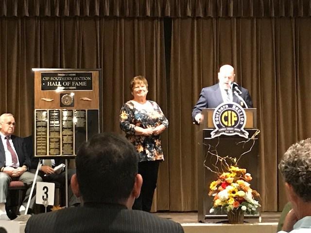 Receiving her CIF Award.