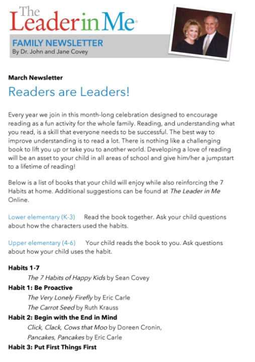 Leader in Me - Family Newsletter Featured Photo