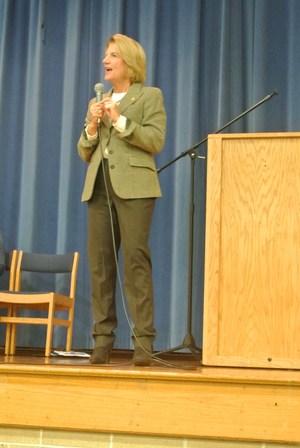 US Senator Capito answering student questions.