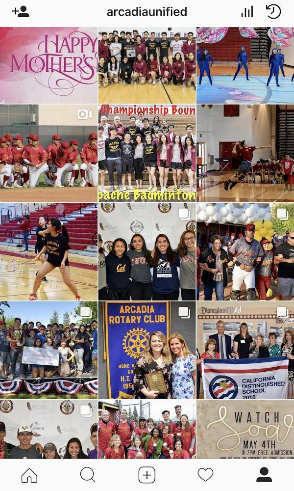 Screenshot of Arcadia Unified Instagram homescreen