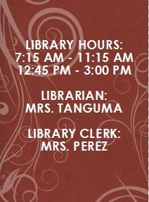 Library hours and library staff information.