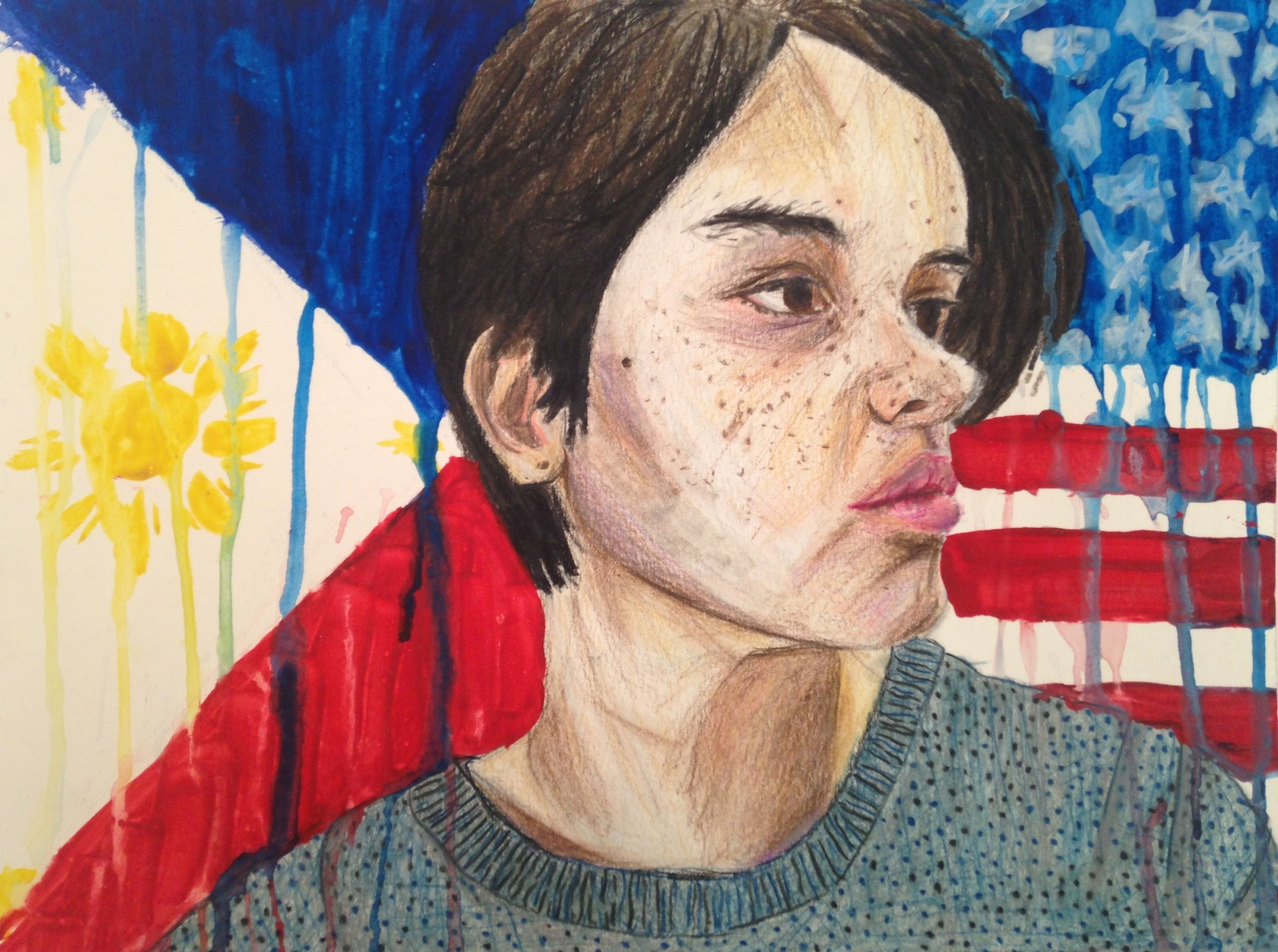 painting of a girl in front of American flag