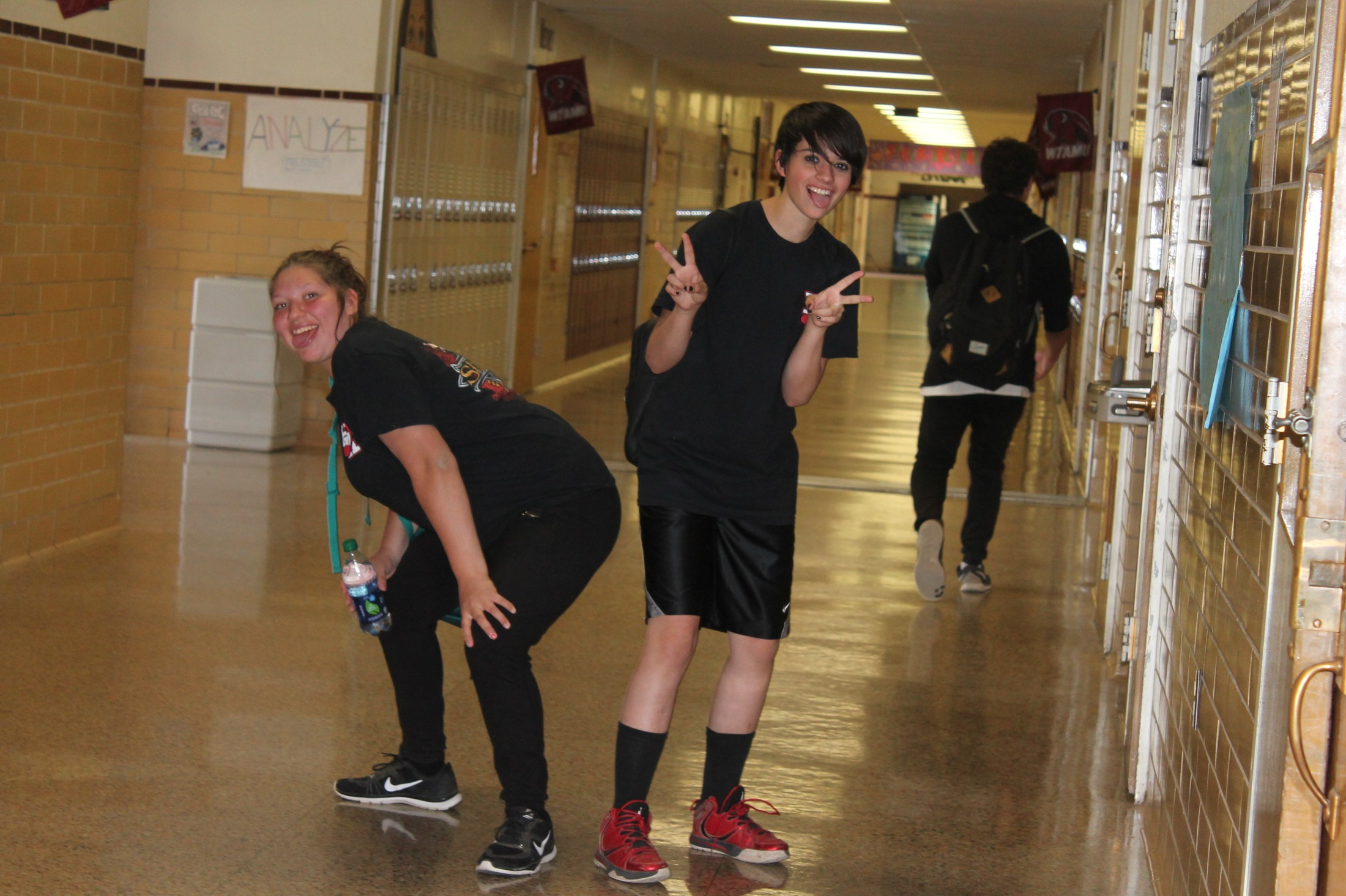 Band silliness in the hallways