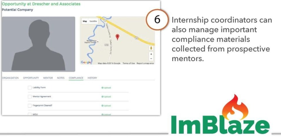 Internship coordinators can also manage important compliance materials collected from prospective mentors.
