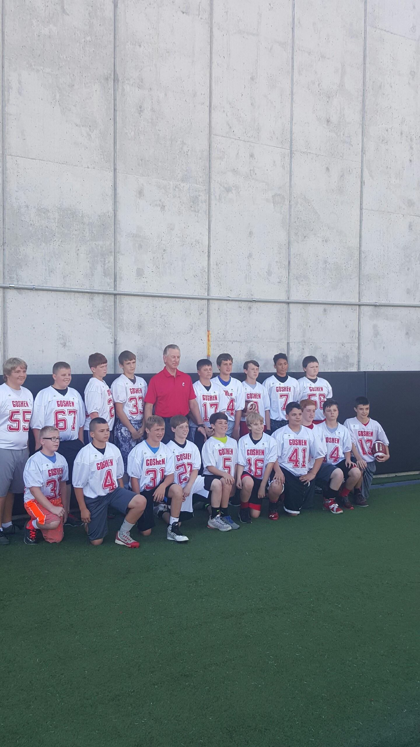Boys football team at camp