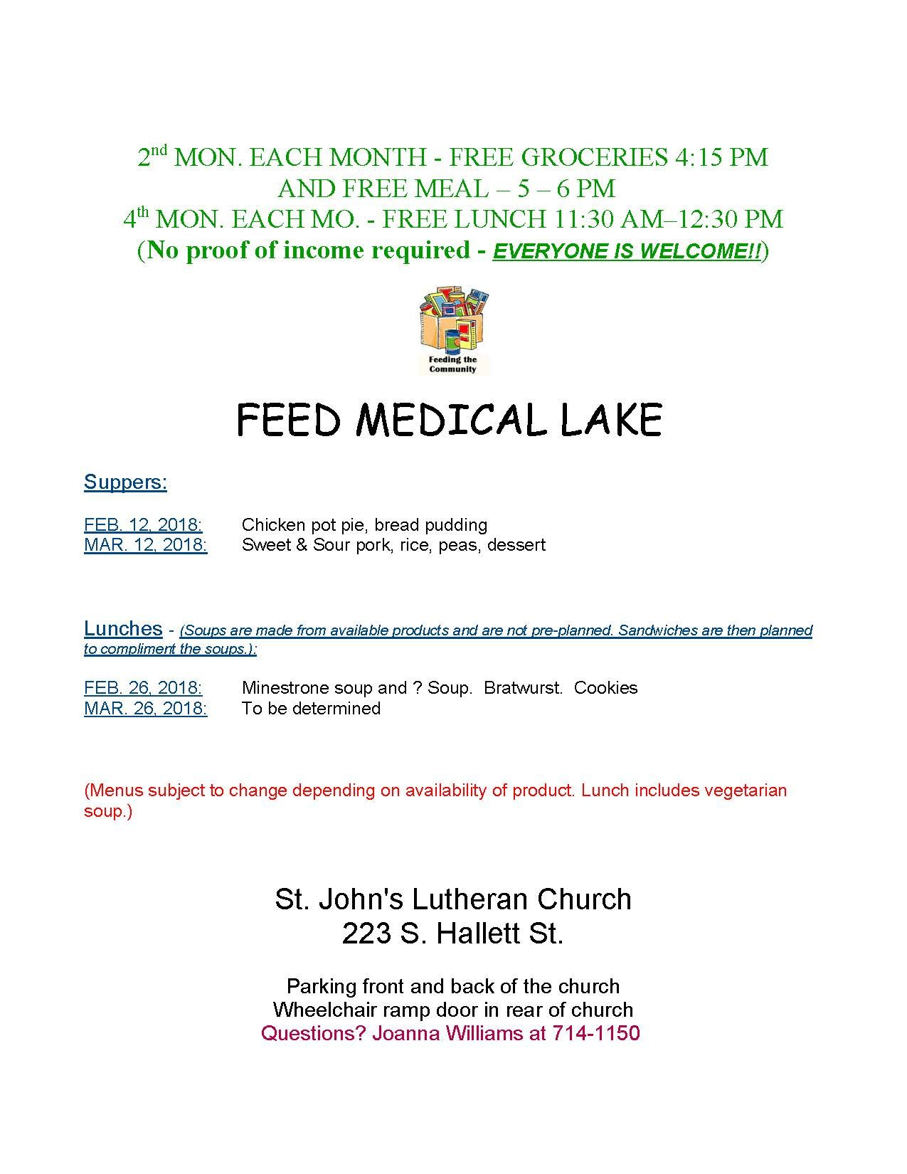 Feed Medical Lake Flyer February and March