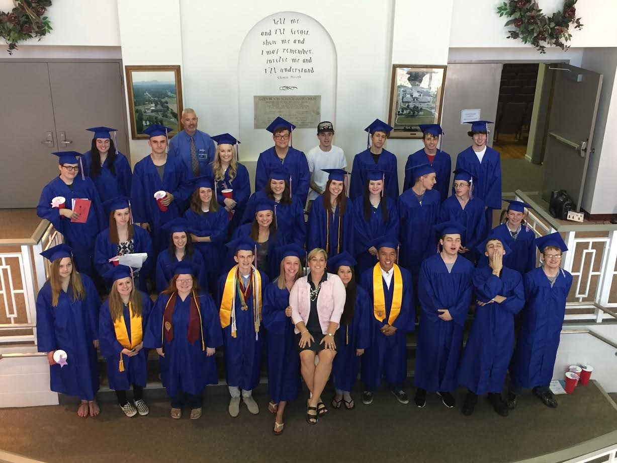 Mrs. Dowdle with the 2016 MHS seniors