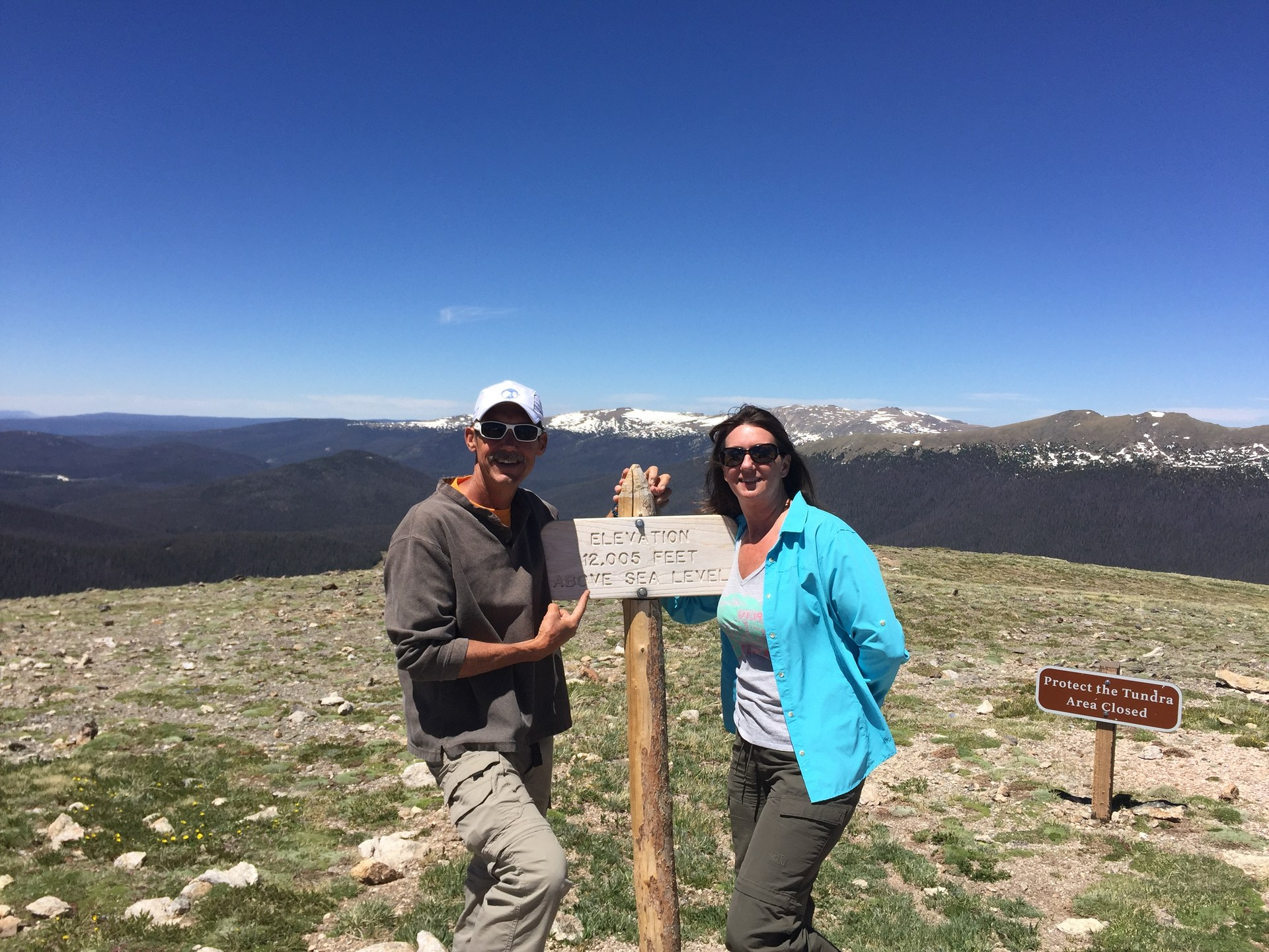 With wife at the highest peak in the Rocky Mountain national park