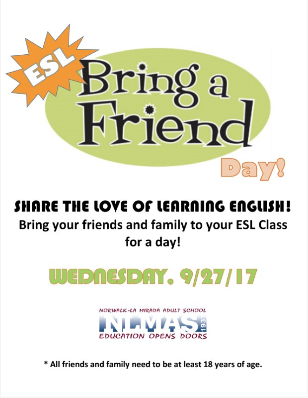 ESL Bring a Friend Day 9/27/17! Featured Photo