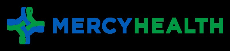 Image of the Mercy Health Logo. It has the insignia for healthcare fields, which looks like a cross, followed by the words Mercy Health.
