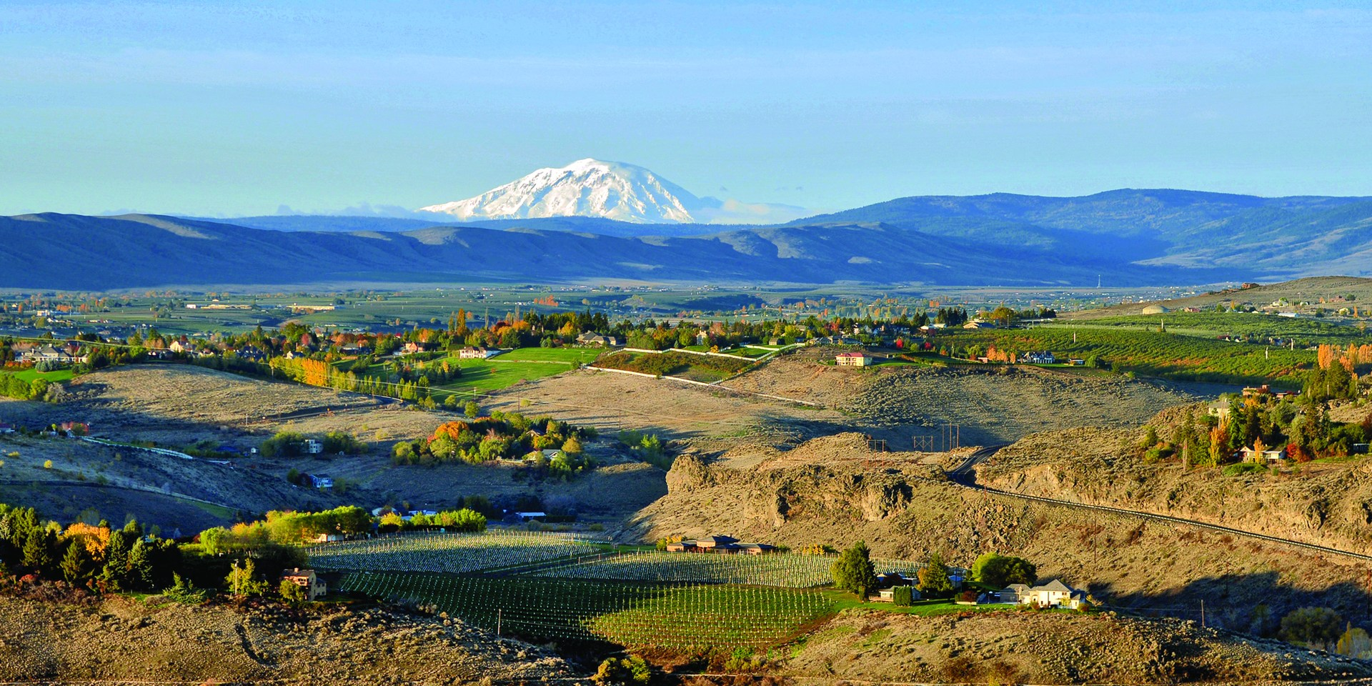 A picture of the region that makes up the East Valley School District. Including an image of Mt. Adams.