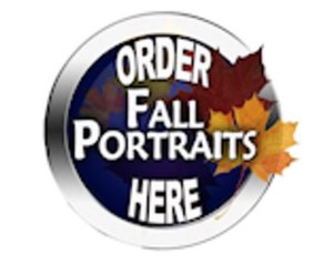 order fall portraits here logo with leaves
