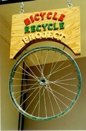 Bicycle Recycle Tire and Sign