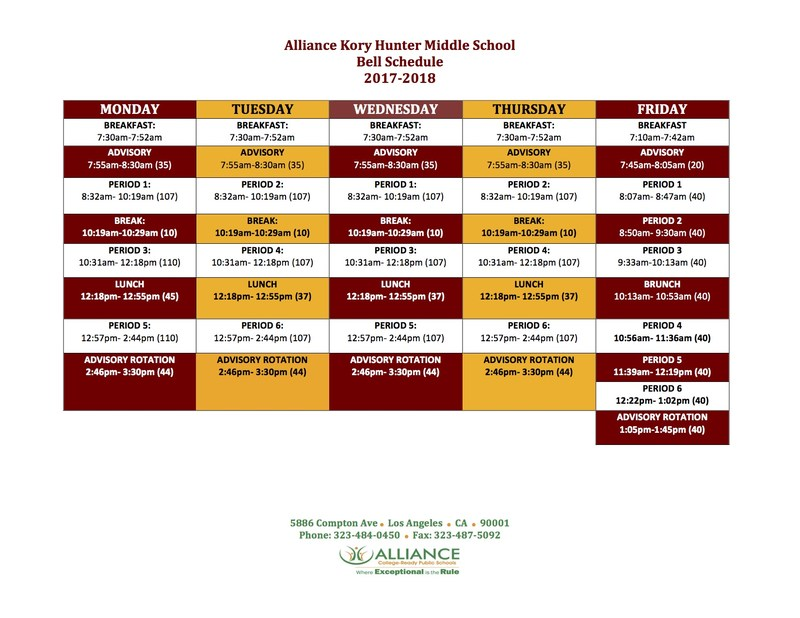 Bell Schedule 2017 - 18 School Year Thumbnail Image