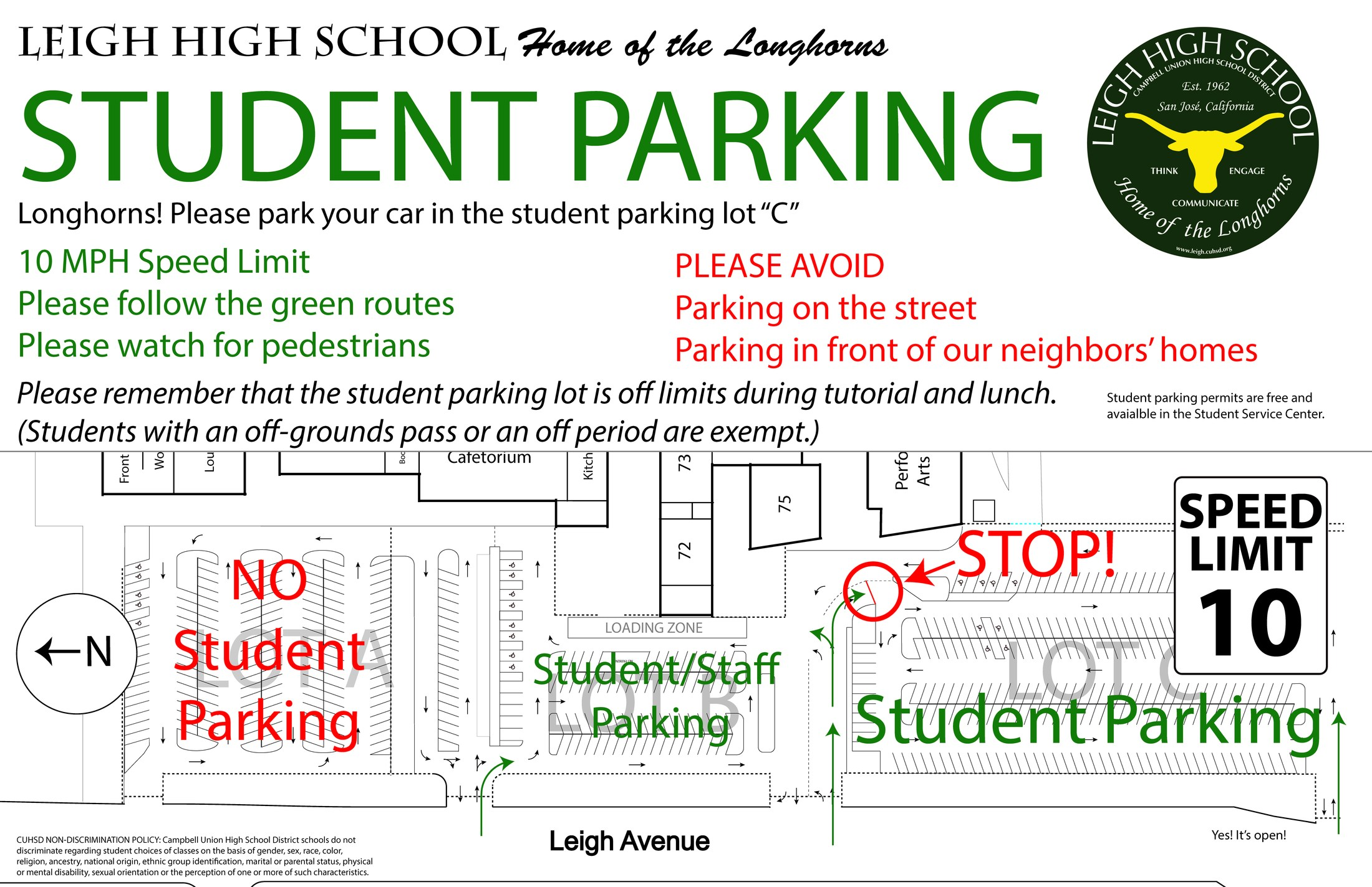 Map showing students where to park in parking lot closest to football field.