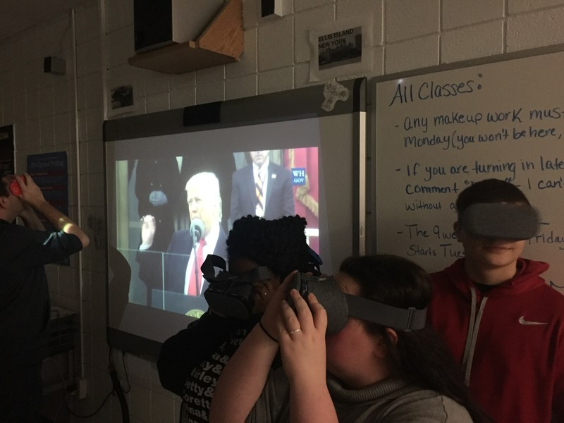 Students watch inaguration through virtual reality