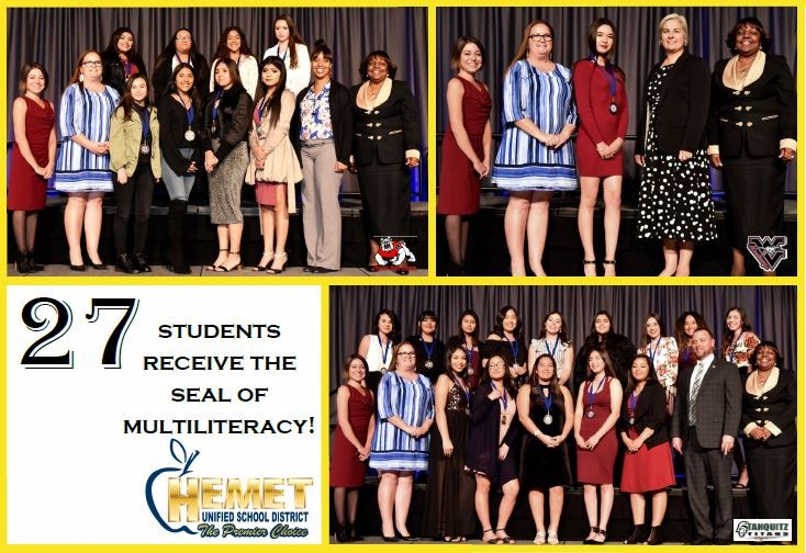 Students from Hemet Unified that received their Seal of Multiliteracy