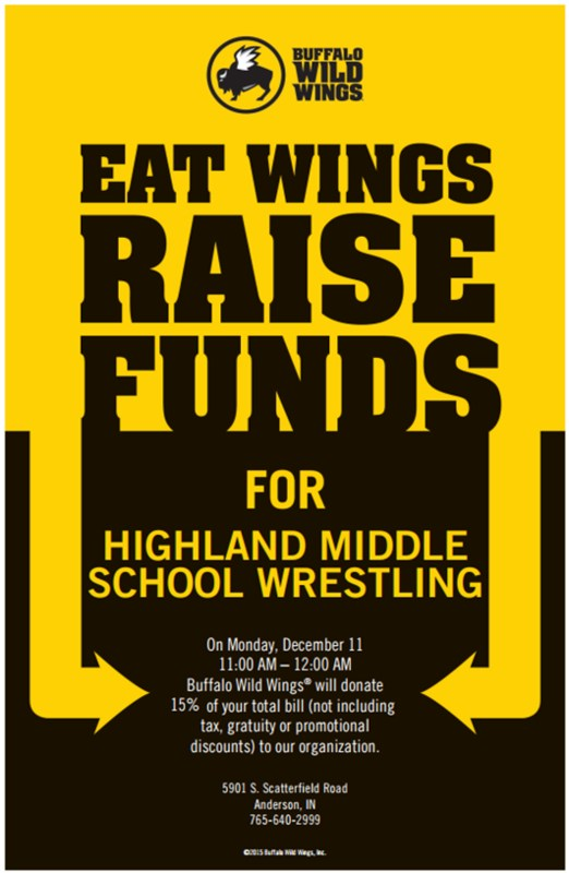 Wrestling Team Fundraiser at Buffalo Wild Wings, Decembe 11 Thumbnail Image