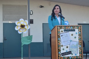 Assemblywoman Blanca Rubio speaks to Pleasant View Elementary students and District administrators about the importance of education before presenting the school with a $5,000 grant from the Barona Band of Mission Indians to enhance digital lessons and projects for fifth- and sixth-grade classrooms.