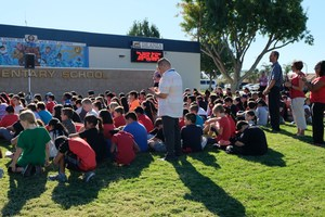 4th and 5th Grade Students and Staff Witness Emblem Unveil on Front Lawn at De Anza Elementary