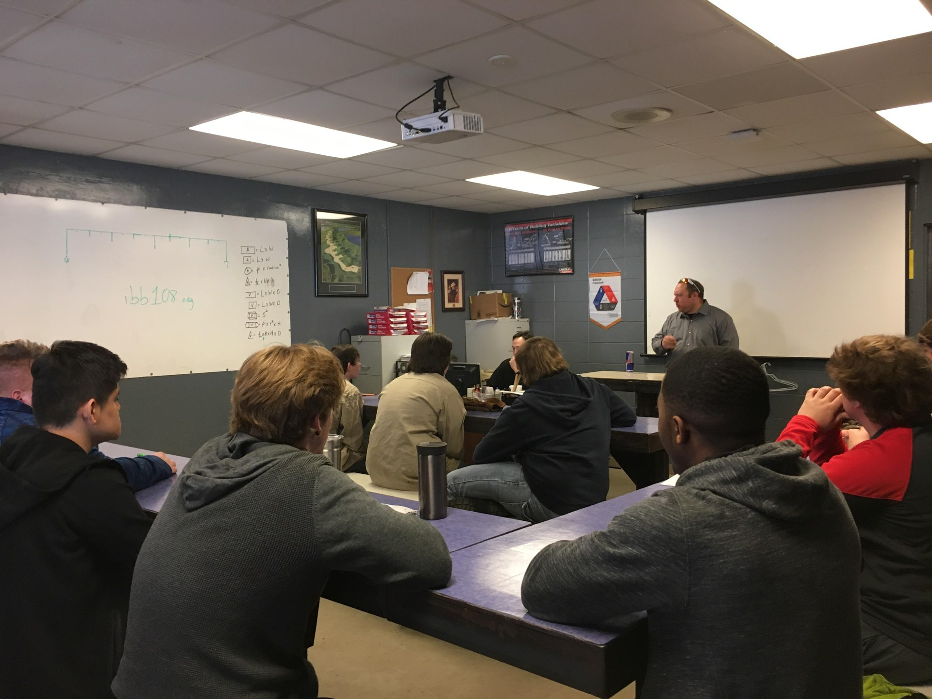 Welding students in the classroom.