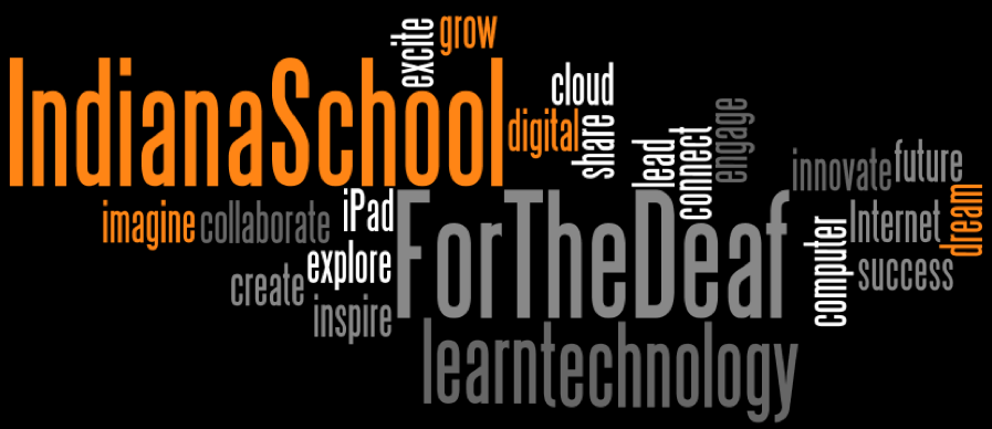 Word cloud including words related to ISD and technology such as iPad, explore, collaborate, learn, and create.